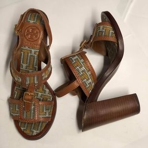 TORY BURCH Florian Aztec Woven Leather Chunky Heel